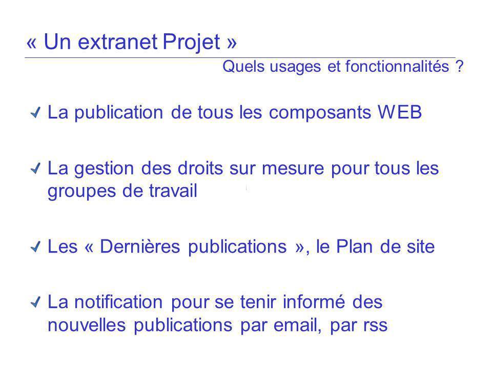 « Un extranet Projet » La publication de tous les composants WEB La gestion des droits sur mesure pour tous les groupes de travail Les « Dernières pub
