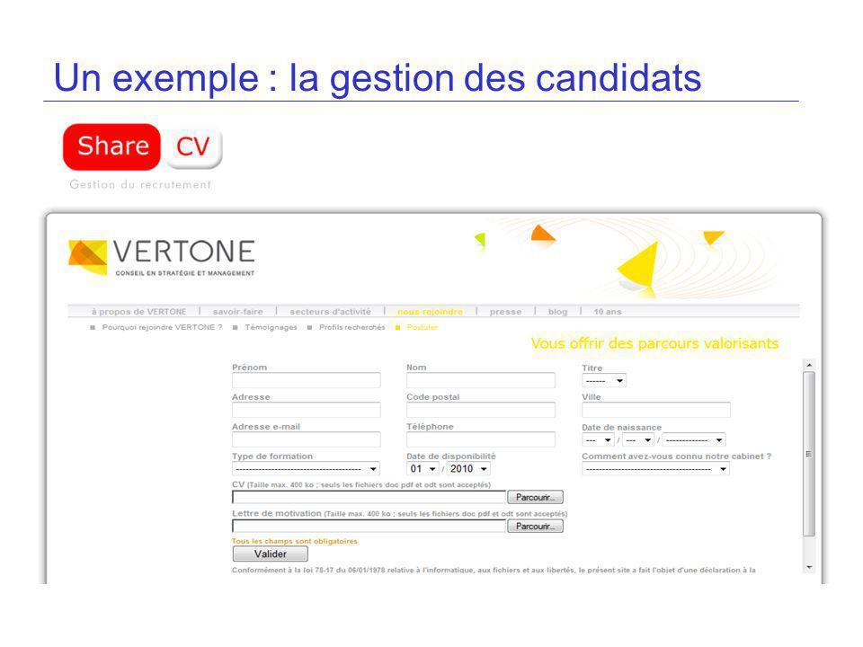 Un exemple : la gestion des candidats