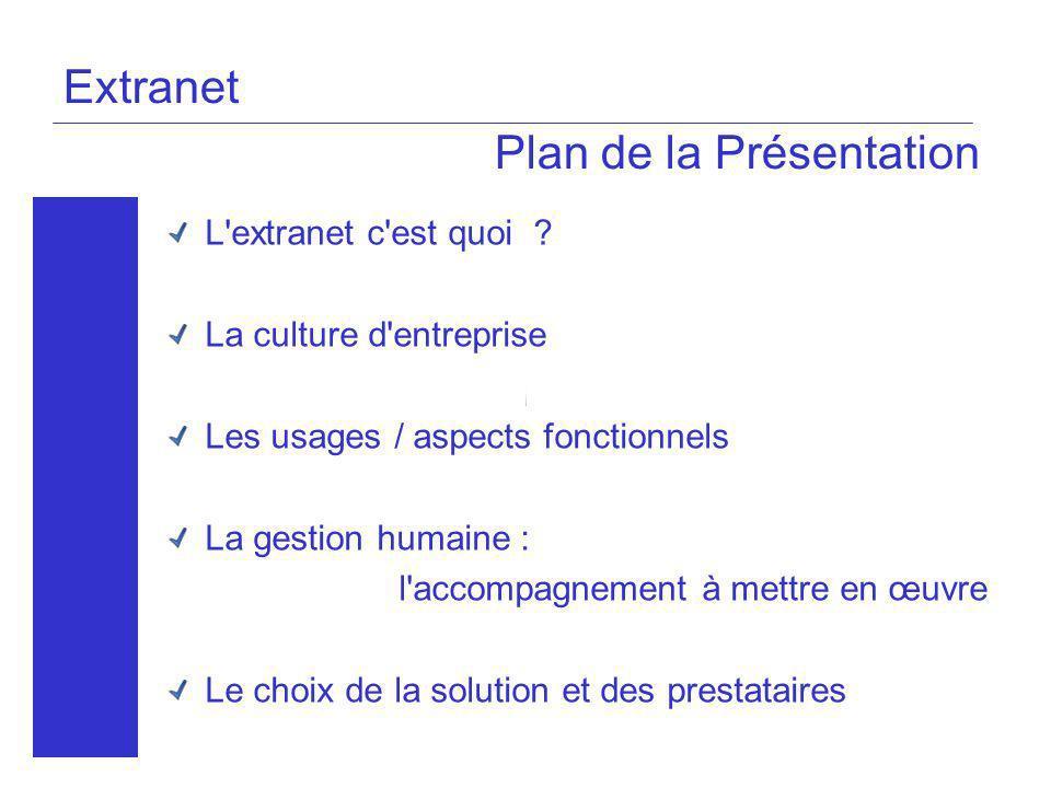 Extranet Plan de la Présentation L'extranet c'est quoi ? La culture d'entreprise Les usages / aspects fonctionnels La gestion humaine : l'accompagneme