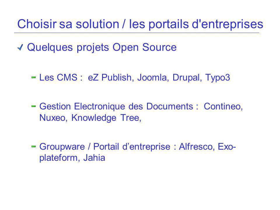 Choisir sa solution / les portails d'entreprises Quelques projets Open Source Les CMS : eZ Publish, Joomla, Drupal, Typo3 Gestion Electronique des Doc