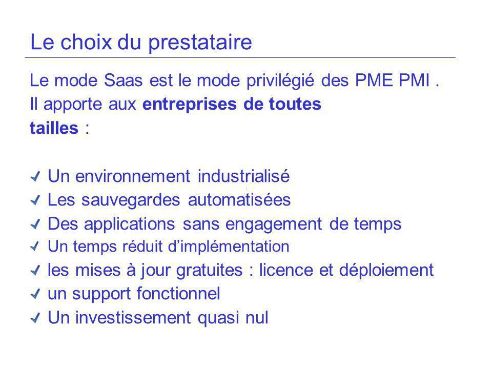 Le mode Saas est le mode privilégié des PME PMI. Il apporte aux entreprises de toutes tailles : Un environnement industrialisé Les sauvegardes automat