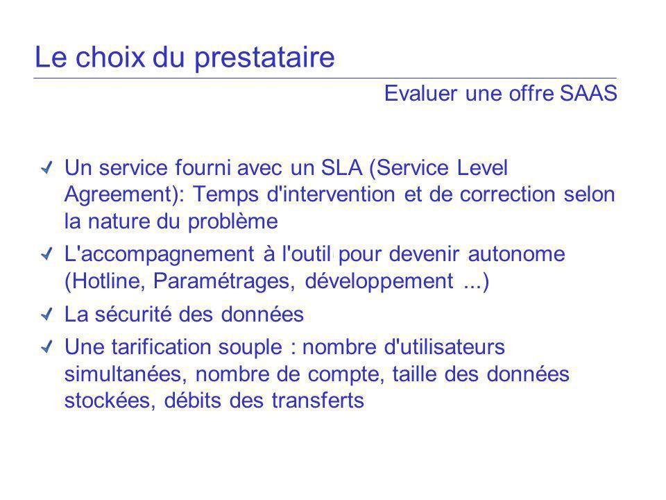 Evaluer une offre SAAS Un service fourni avec un SLA (Service Level Agreement): Temps d'intervention et de correction selon la nature du problème L'ac