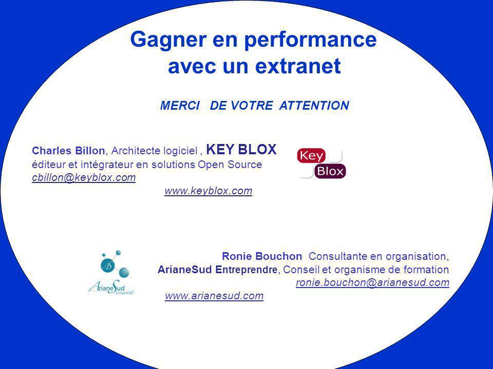 Gagner en performance avec un extranet MERCI DE VOTRE ATTENTION Charles Billon, Architecte logiciel, KEY BLOX éditeur et intégrateur en solutions Open