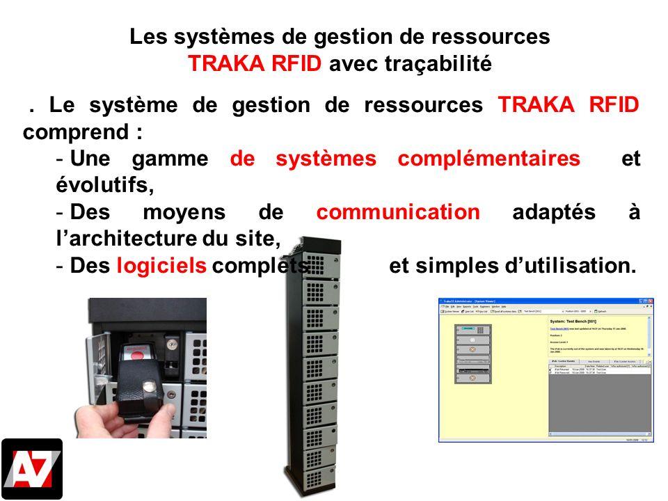 . Le système de gestion de ressources TRAKA RFID comprend : - Une gamme de systèmes complémentaires et évolutifs, - Des moyens de communication adapté