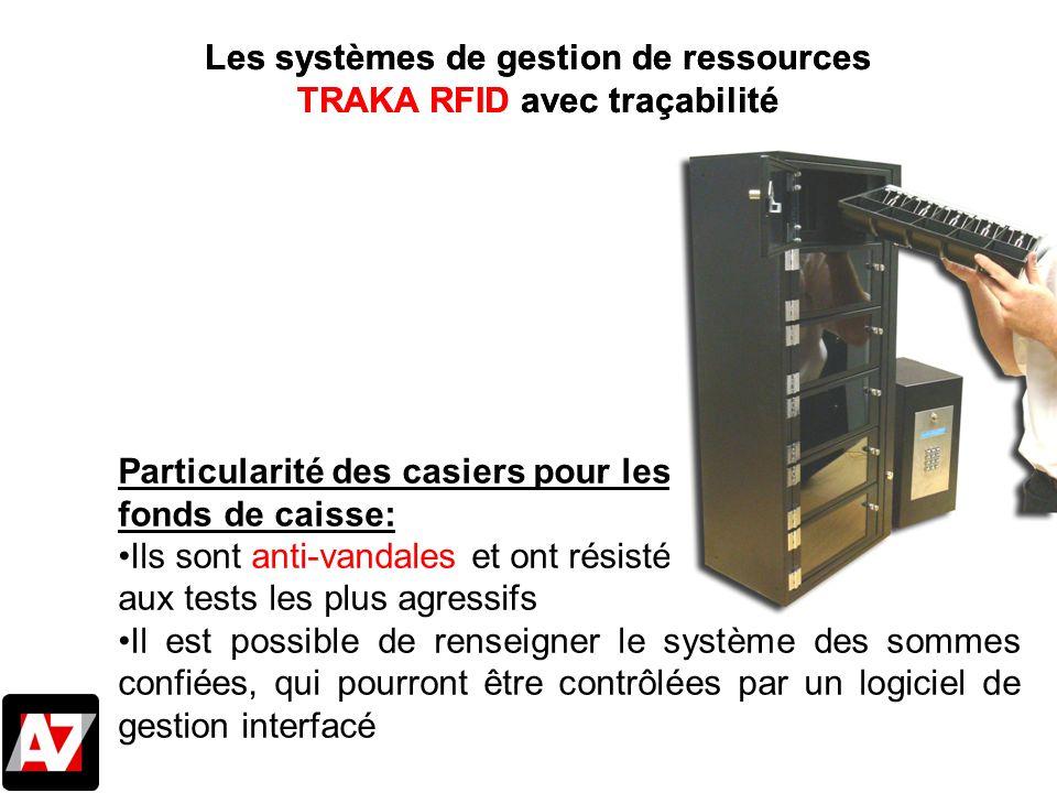 Les systèmes de gestion de ressources TRAKA RFID avec traçabilité Particularité des casiers pour les fonds de caisse: Ils sont anti-vandales et ont ré