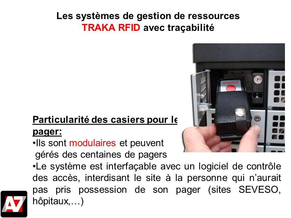 Les systèmes de gestion de ressources TRAKA RFID avec traçabilité Particularité des casiers pour les pager: Ils sont modulaires et peuvent gérés des c