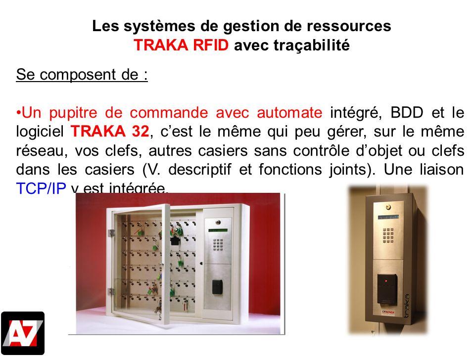 Se composent de : Un pupitre de commande avec automate intégré, BDD et le logiciel TRAKA 32, cest le même qui peu gérer, sur le même réseau, vos clefs