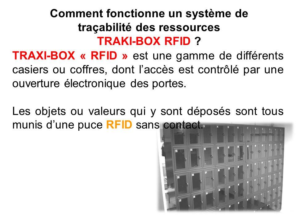 TRAXI-BOX « RFID » est une gamme de différents casiers ou coffres, dont laccès est contrôlé par une ouverture électronique des portes. Les objets ou v