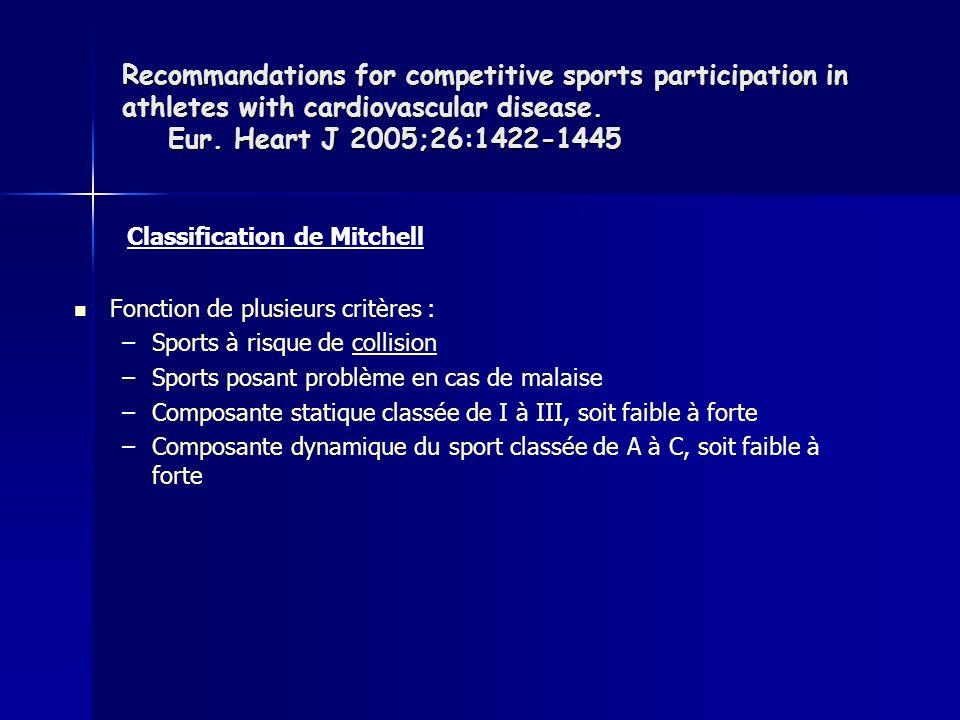 Fonction de plusieurs critères : – –Sports à risque de collision – –Sports posant problème en cas de malaise – –Composante statique classée de I à III