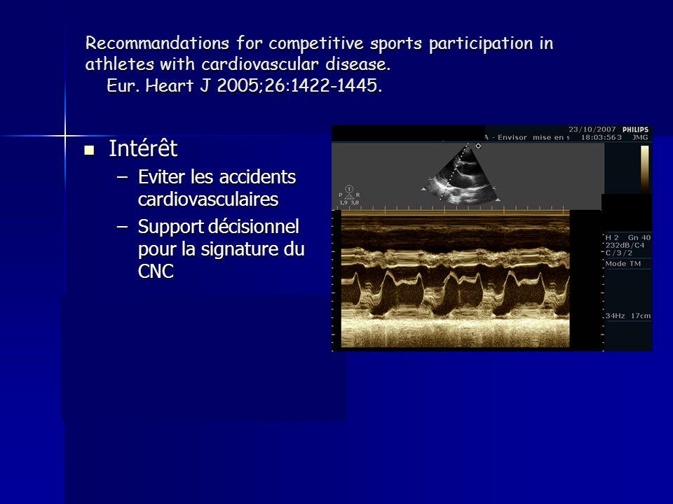 Coronariens et sport de compétition PARAMETRES RISQUE FAIBLE Fraction déjection Capacité deffort Ischémie provocable Arythmie ventriculaire Sténose coronaire >70% > 50 % Adaptée au sport Pas dischémie Non au repos et effort NON RISQUE ELEVE
