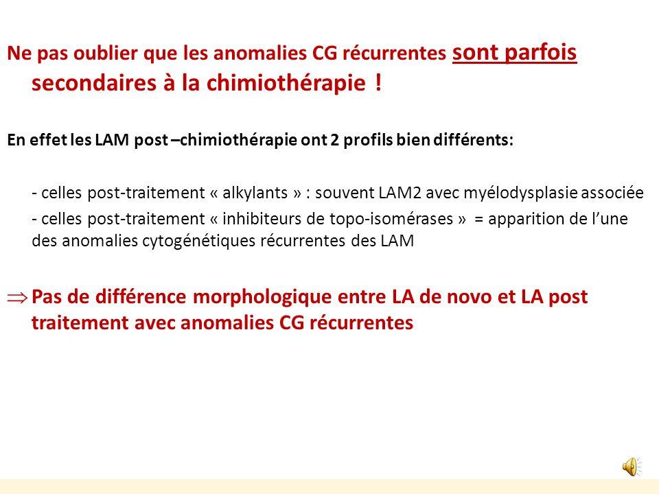 Autres catégories de LAM avec anomalies cytogénétiques récurrentes pas de relation entre morphologie et anomalie cytogénétique (sauf la très rare inv(