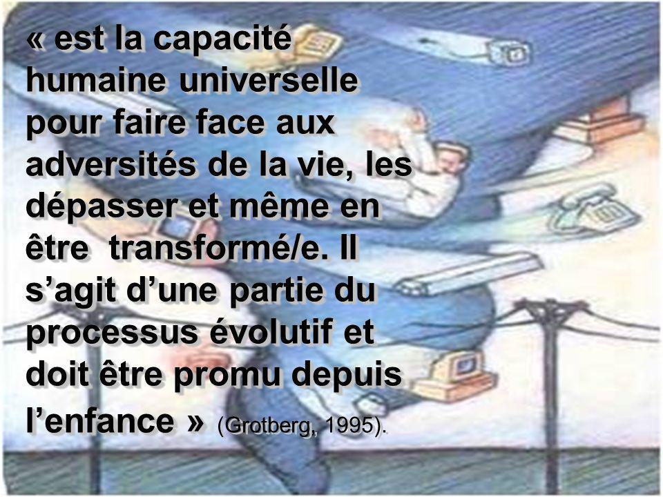 « est la capacité humaine universelle pour faire face aux adversités de la vie, les dépasser et même en être transformé/e.