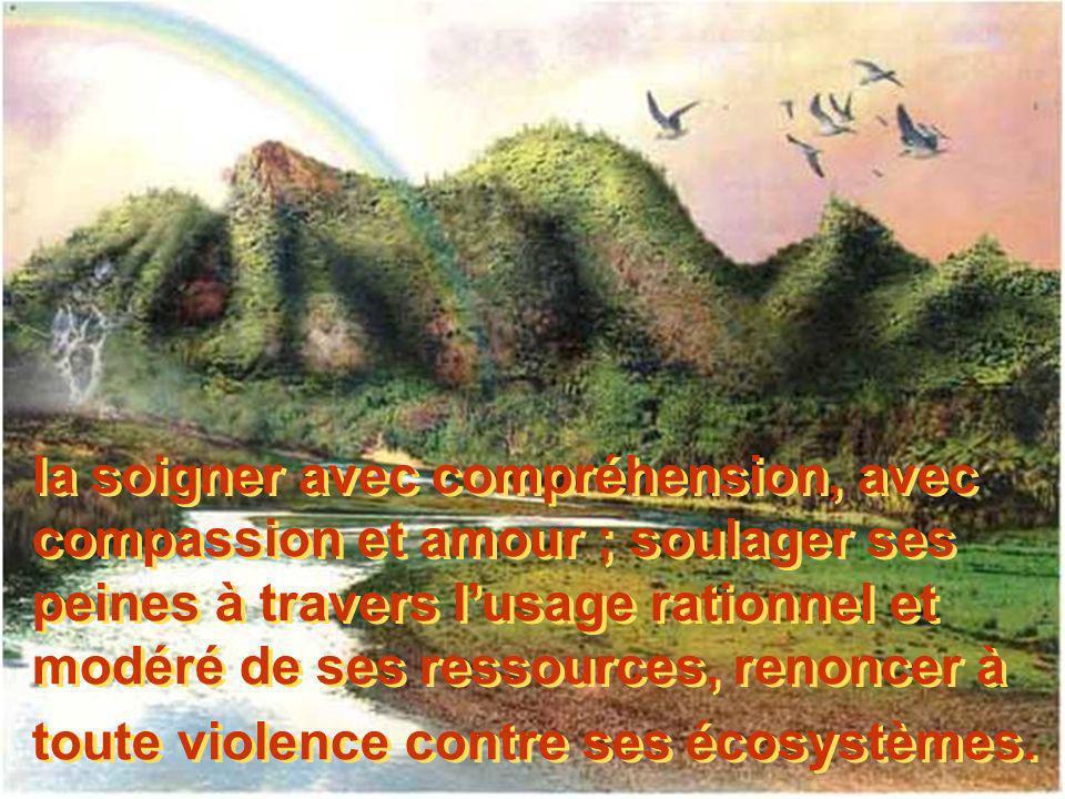 la soigner avec compréhension, avec compassion et amour ; soulager ses peines à travers lusage rationnel et modéré de ses ressources, renoncer à toute violence contre ses écosystèmes.