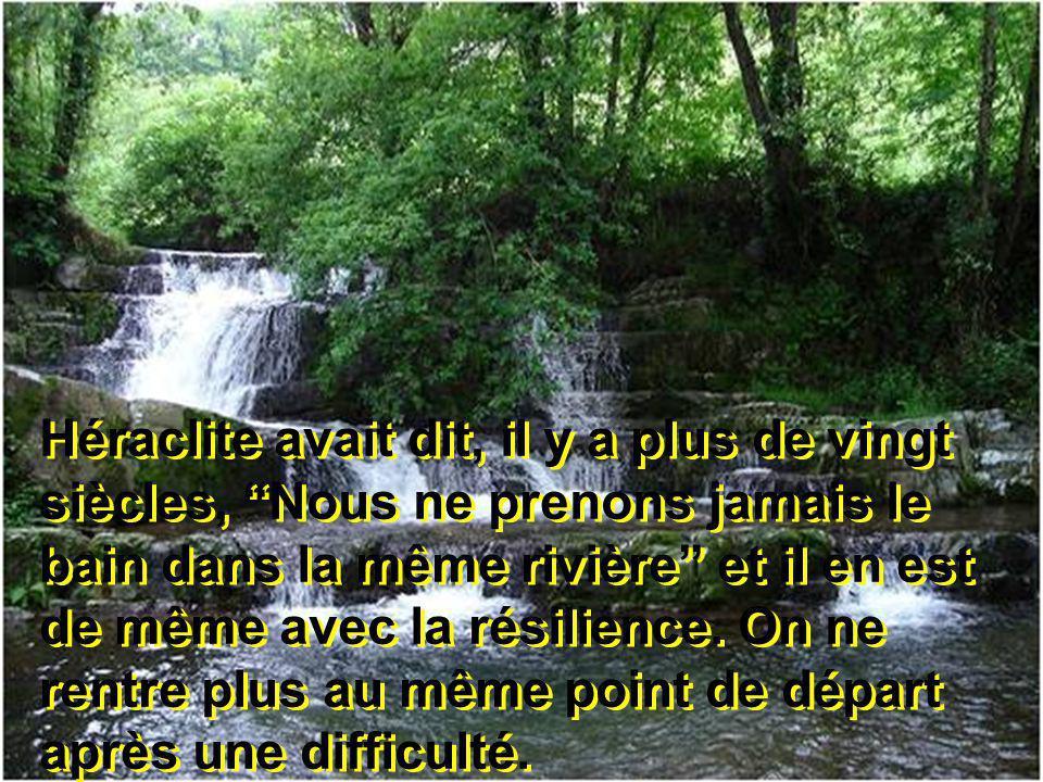 Héraclite avait dit, il y a plus de vingt siècles, Nous ne prenons jamais le bain dans la même rivière et il en est de même avec la résilience.