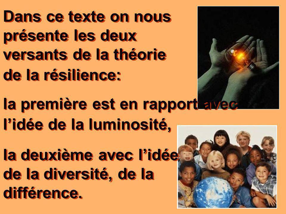 Dans ce texte on nous présente les deux versants de la théorie de la résilience: la deuxième avec lidée de la diversité, de la différence.