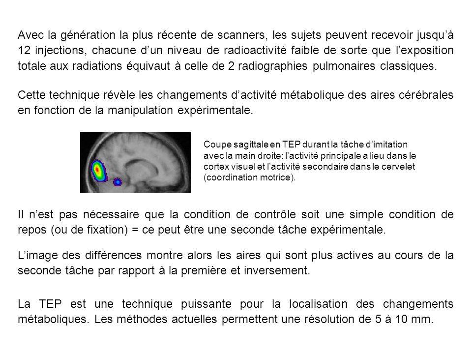 Avec la génération la plus récente de scanners, les sujets peuvent recevoir jusquà 12 injections, chacune dun niveau de radioactivité faible de sorte que lexposition totale aux radiations équivaut à celle de 2 radiographies pulmonaires classiques.