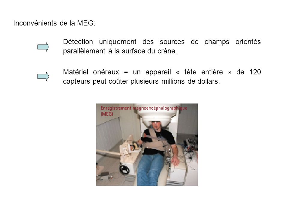 Inconvénients de la MEG: Détection uniquement des sources de champs orientés parallèlement à la surface du crâne.