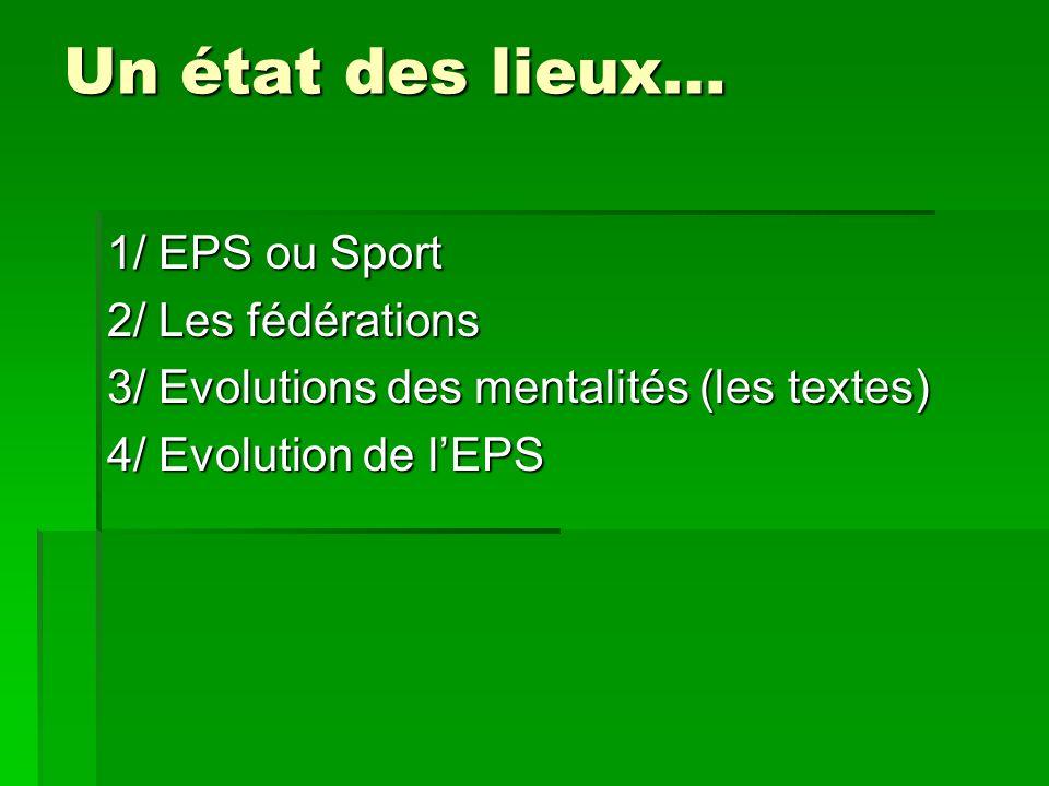 EPS et Sport LEPS est une discipline scolaire : elle poursuit les finalités, les objectifs assignés à lécole comme les autres disciplines.