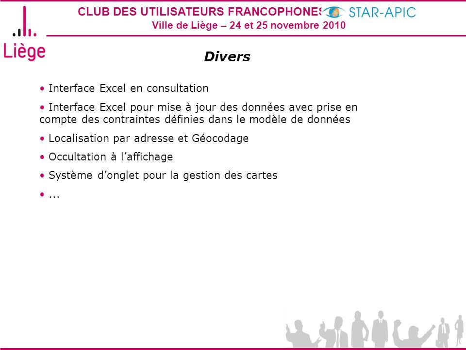 CLUB DES UTILISATEURS FRANCOPHONES STAR-APIC 2010 Ville de Liège – 24 et 25 novembre 2010 Divers Interface Excel en consultation Interface Excel pour