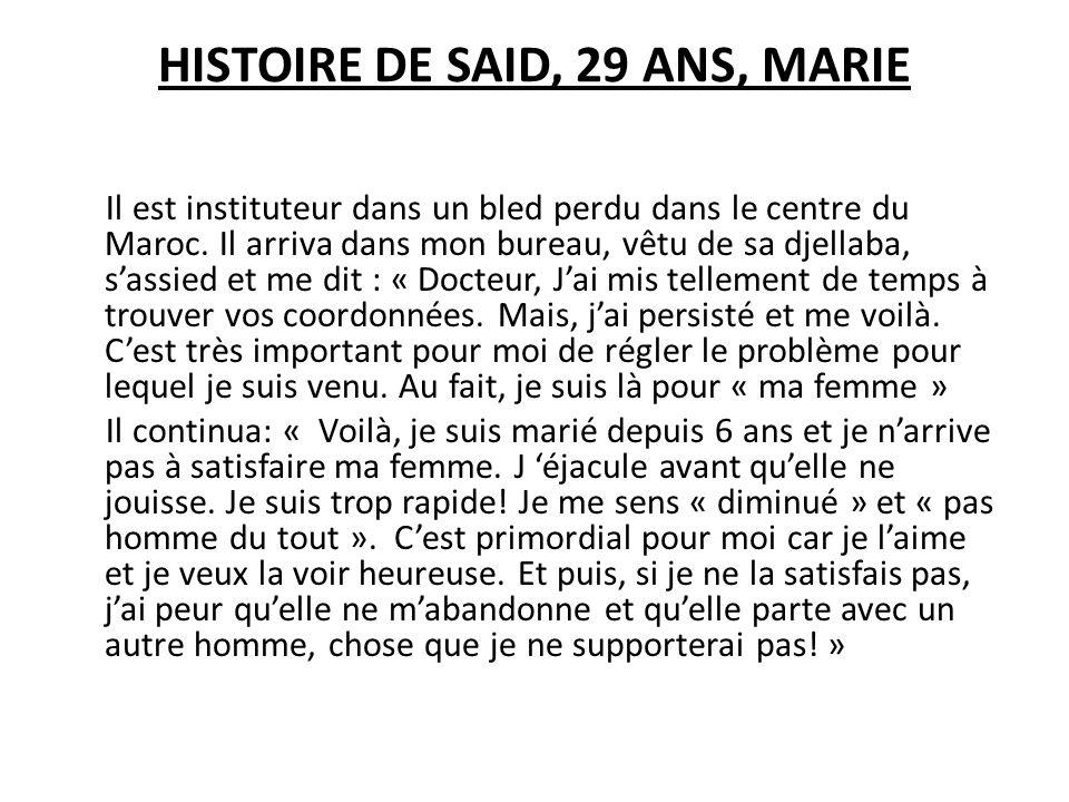 HISTOIRE DE SAID, 29 ANS, MARIE Il est instituteur dans un bled perdu dans le centre du Maroc. Il arriva dans mon bureau, vêtu de sa djellaba, sassied