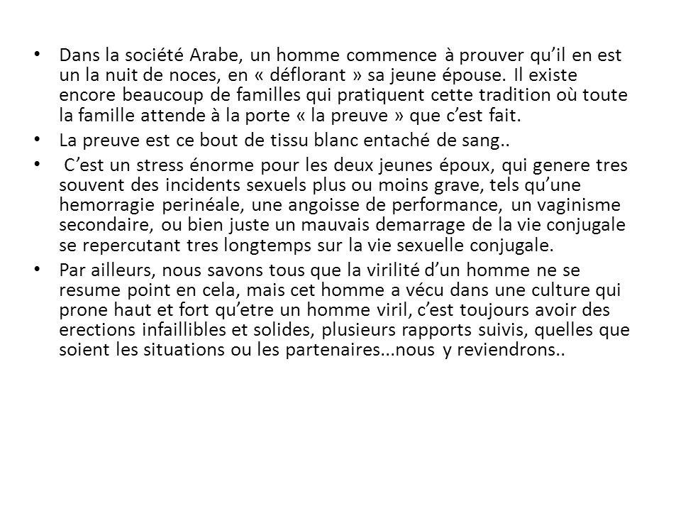 Dans la société Arabe, un homme commence à prouver quil en est un la nuit de noces, en « déflorant » sa jeune épouse.