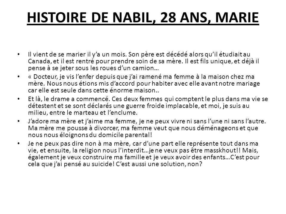 HISTOIRE DE NABIL, 28 ANS, MARIE Il vient de se marier il ya un mois. Son père est décédé alors quil étudiait au Canada, et il est rentré pour prendre