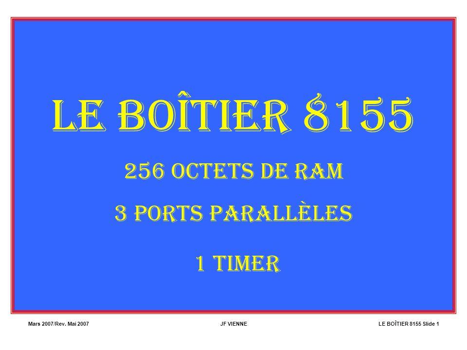 Mars 2007/Rev. Mai 2007JF VIENNELE BOÎTIER 8155 Slide 1 LE BOÎTIER 8155 256 OCTETS DE RAM 3 PORTS PARALLÈLES 1 TIMER