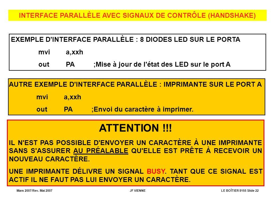 Mars 2007/Rev. Mai 2007JF VIENNELE BOÎTIER 8155 Slide 22 INTERFACE PARALLÈLE AVEC SIGNAUX DE CONTRÔLE (HANDSHAKE) EXEMPLE D'INTERFACE PARALLÈLE : 8 DI