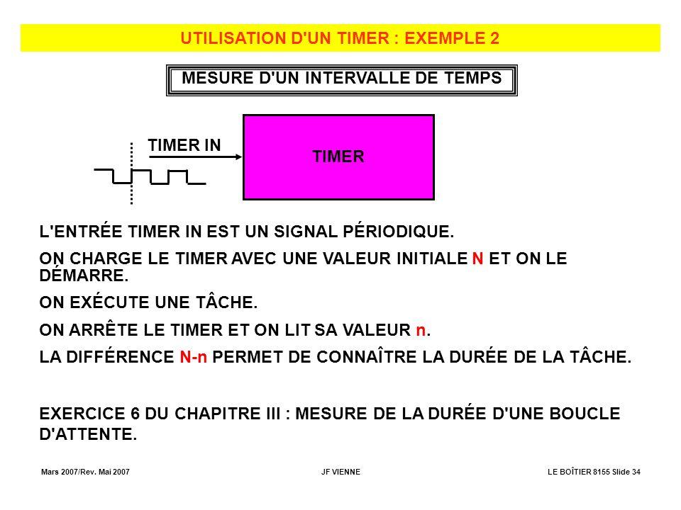 Mars 2007/Rev. Mai 2007JF VIENNELE BOÎTIER 8155 Slide 34 UTILISATION D'UN TIMER : EXEMPLE 2 TIMER TIMER IN L'ENTRÉE TIMER IN EST UN SIGNAL PÉRIODIQUE.