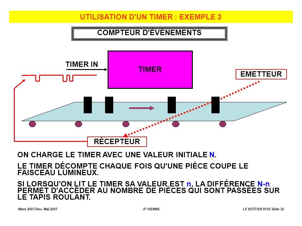 Mars 2007/Rev. Mai 2007JF VIENNELE BOÎTIER 8155 Slide 35 UTILISATION D'UN TIMER : EXEMPLE 3 TIMER TIMER IN ON CHARGE LE TIMER AVEC UNE VALEUR INITIALE
