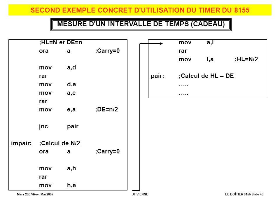 Mars 2007/Rev. Mai 2007JF VIENNELE BOÎTIER 8155 Slide 46 SECOND EXEMPLE CONCRET D'UTILISATION DU TIMER DU 8155 MESURE D'UN INTERVALLE DE TEMPS (CADEAU