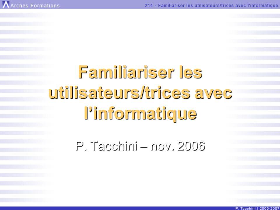 Familiariser les utilisateurs/trices avec linformatique P. Tacchini – nov. 2006