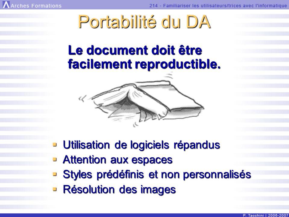 Portabilité du DA Utilisation de logiciels répandus Utilisation de logiciels répandus Attention aux espaces Attention aux espaces Styles prédéfinis et non personnalisés Styles prédéfinis et non personnalisés Résolution des images Résolution des images Le document doit être facilement reproductible.