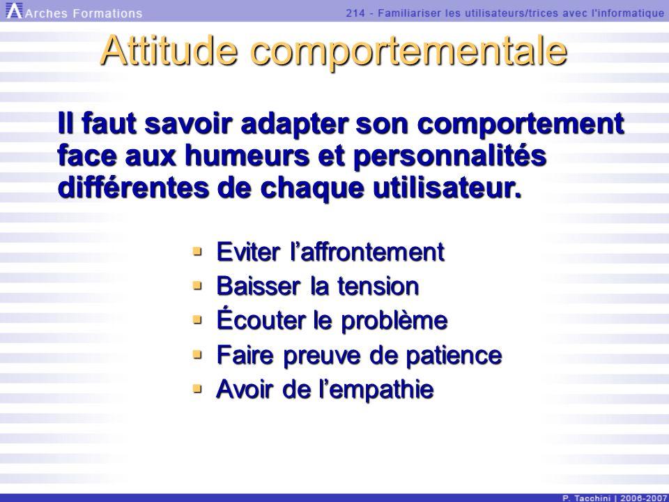 Attitude comportementale Il faut savoir adapter son comportement face aux humeurs et personnalités différentes de chaque utilisateur.