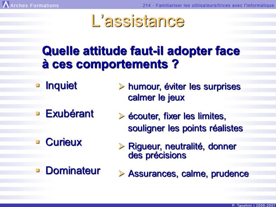 Lassistance Quelle attitude faut-il adopter face à ces comportements .