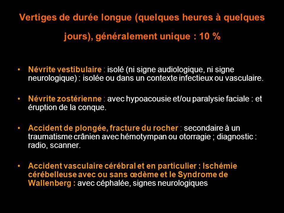 Vertiges de durée longue (quelques heures à quelques jours), généralement unique : 10 % Névrite vestibulaire : isolé (ni signe audiologique, ni signe