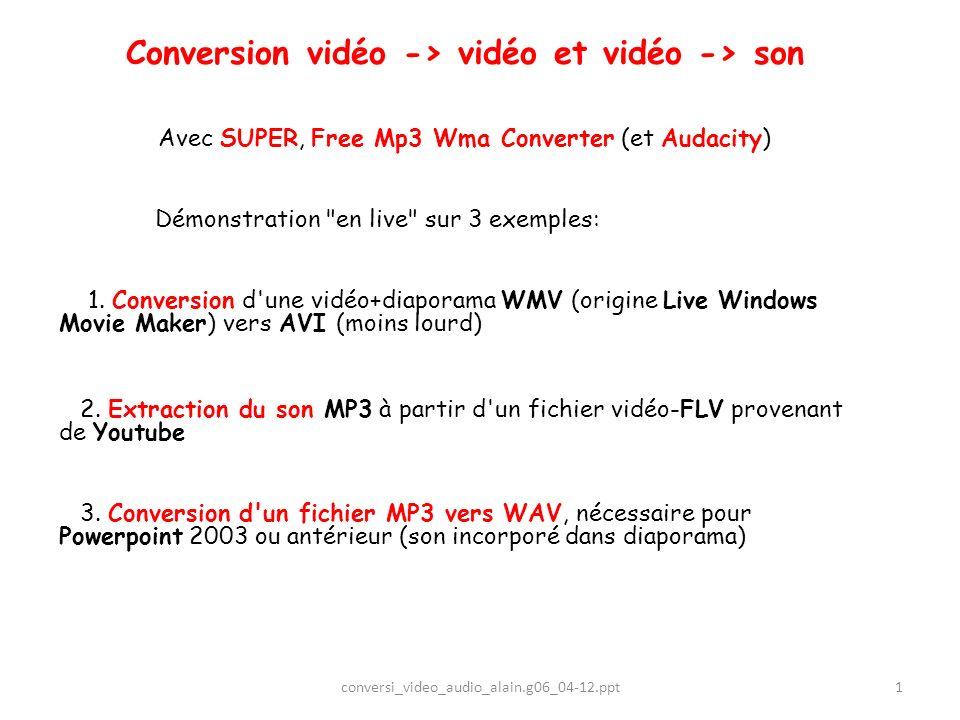 12 REM: le fichier WMV de départ est un diaporama-vidéo sonorisé 1.Un fichier WMV a été téléchargé depuis Youtube (dolce vita.wmv) 2.Ce fichier a été repris par Windows Live Movie Maker (wlmm): sélection 3.Puis on a ajouté des photos et réalisé des Animations 4.De la musique MP3 a été ajoutée 5.Enfin on a enregistré au format WMV (format de wlmm)