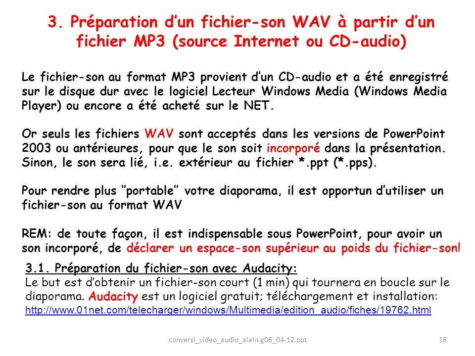 3. Préparation dun fichier-son WAV à partir dun fichier MP3 (source Internet ou CD-audio) Le fichier-son au format MP3 provient dun CD-audio et a été