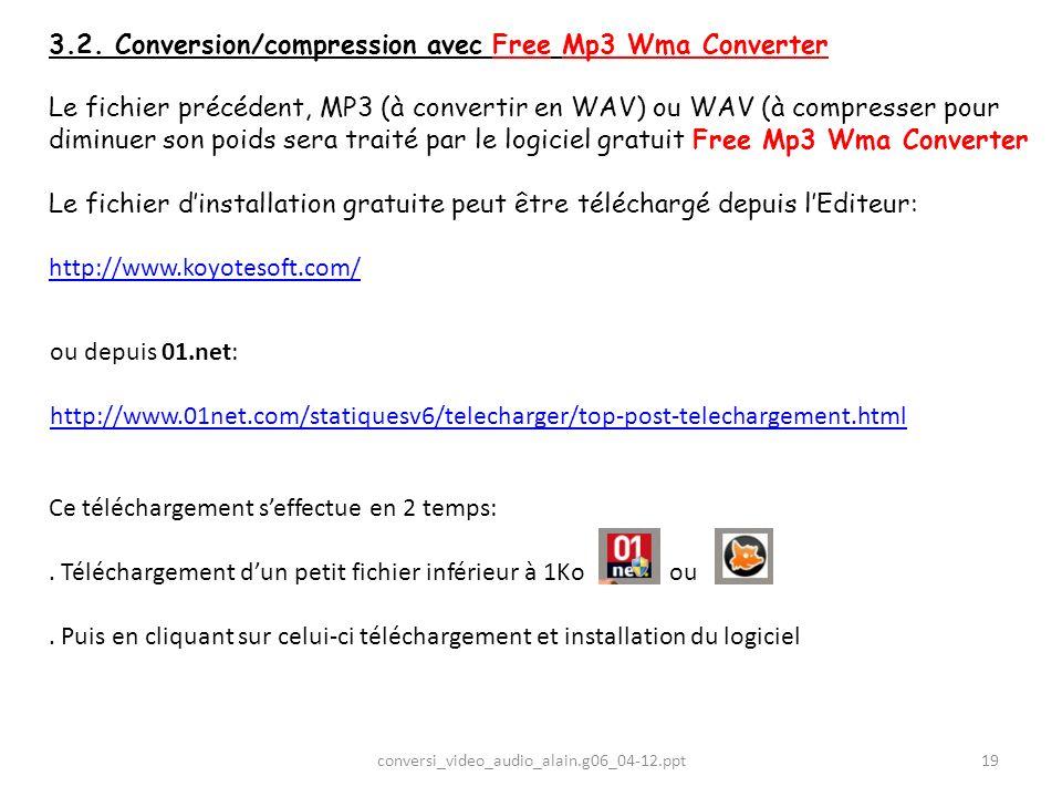 3.2. Conversion/compression avec Free Mp3 Wma Converter Le fichier précédent, MP3 (à convertir en WAV) ou WAV (à compresser pour diminuer son poids se