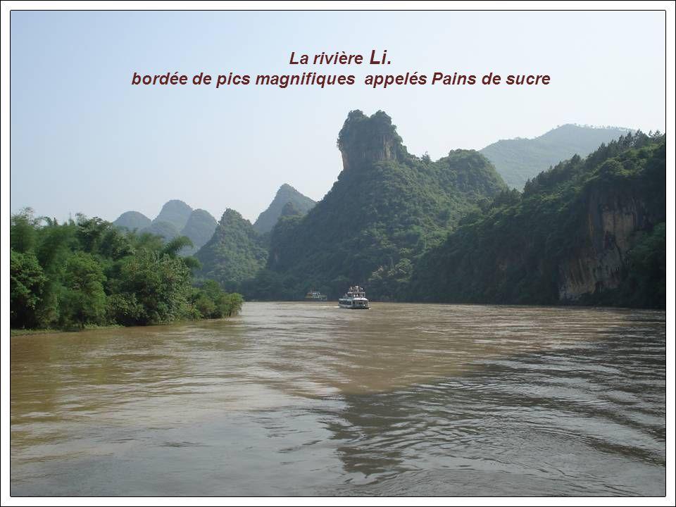 La rivière Li. bordée de pics magnifiques appelés Pains de sucre