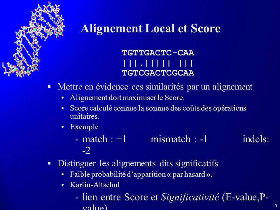 5 Alignement Local et Score Mettre en évidence ces similarités par un alignement Alignement doit maximiser le Score. Score calculé comme la somme des