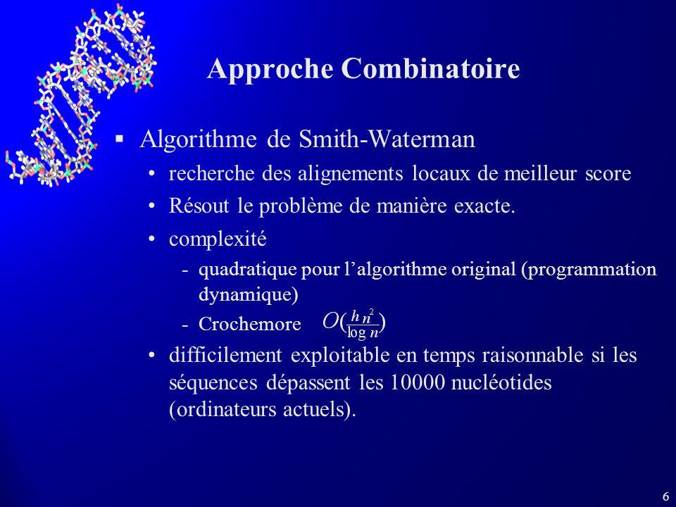 6 Approche Combinatoire Algorithme de Smith-Waterman recherche des alignements locaux de meilleur score Résout le problème de manière exacte. complexi