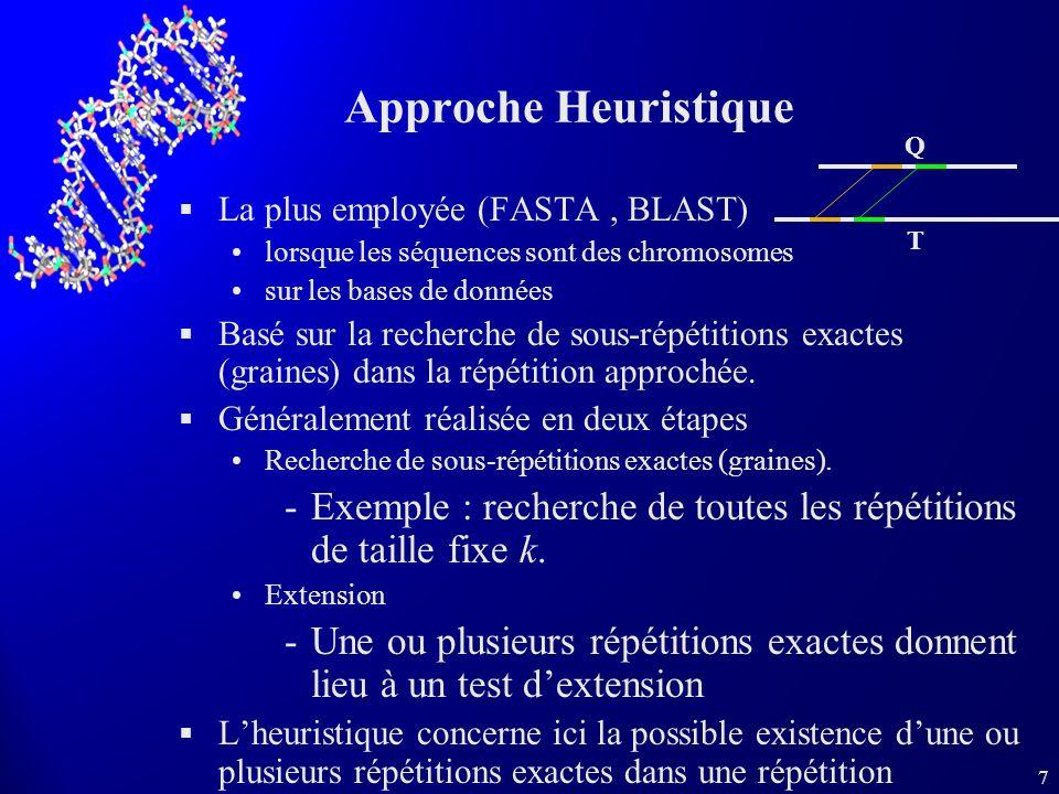7 Approche Heuristique La plus employée (FASTA, BLAST) lorsque les séquences sont des chromosomes sur les bases de données Basé sur la recherche de sous-répétitions exactes (graines) dans la répétition approchée.