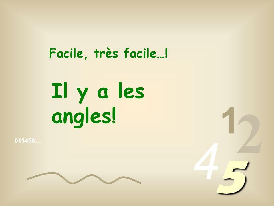 013456… 1 2 4 5 Facile, très facile…! Il y a les angles!