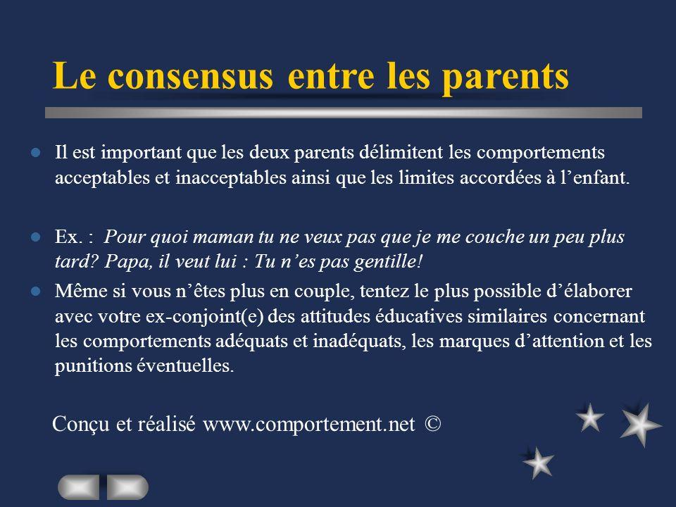 Il est important que les deux parents délimitent les comportements acceptables et inacceptables ainsi que les limites accordées à lenfant.