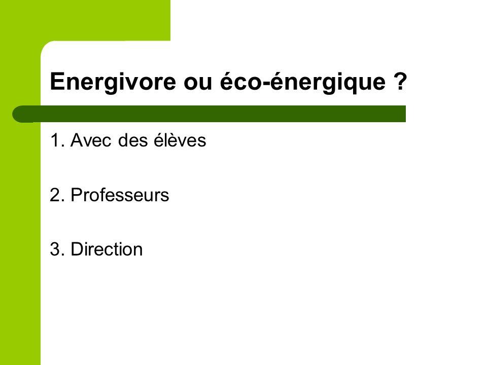 Energivore ou éco-énergique ? 1. Avec des élèves 2. Professeurs 3. Direction
