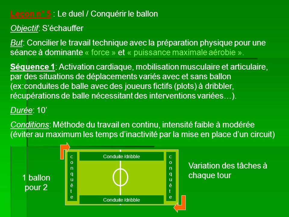 Leçon n° 5 : Le duel / Conquérir le ballon Objectif: Séchauffer But: Concilier le travail technique avec la préparation physique pour une séance à dominante « force » et « puissance maximale aérobie ».