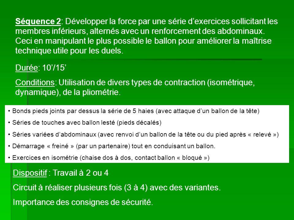 Séquence 3: Partie intensive avec un travail sollicitant la mobilisation de la force explosive et un développement de la PMA.