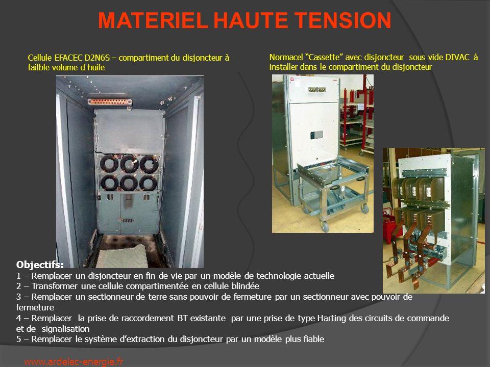 www.ardelec-energie.fr MATERIEL HAUTE TENSION Cellule EFACEC D2N6S – compartiment du disjoncteur à failble volume d huile Normacel Cassette avec disjo