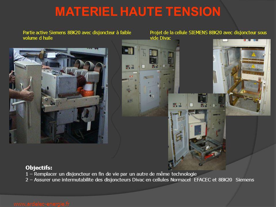 www.ardelec-energie.fr MATERIEL HAUTE TENSION Partie active Siemens 8BK20 avec disjoncteur à faible volume d huile Projet de la cellule SIEMENS 8BK20